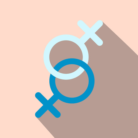 sex chromosomes: Sign of two women flat icon with shadow on the background