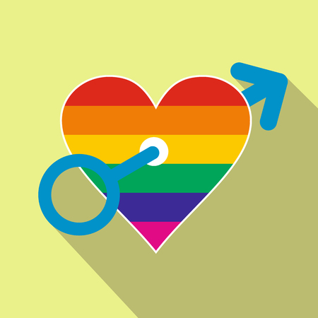 homosexual: Homosexual love male flat icon with shadow on the background