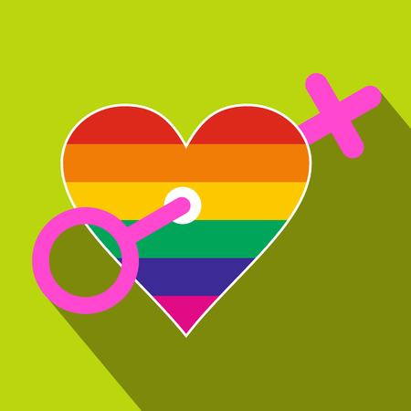 homosexual: Homosexual love women flat icon with shadow on the background