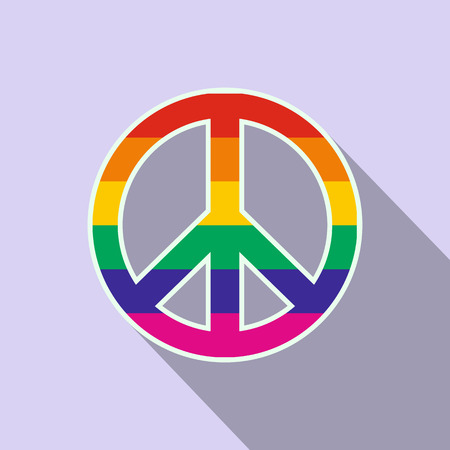 spectra: Peace symbol rainbow flat icon with shadow on the background