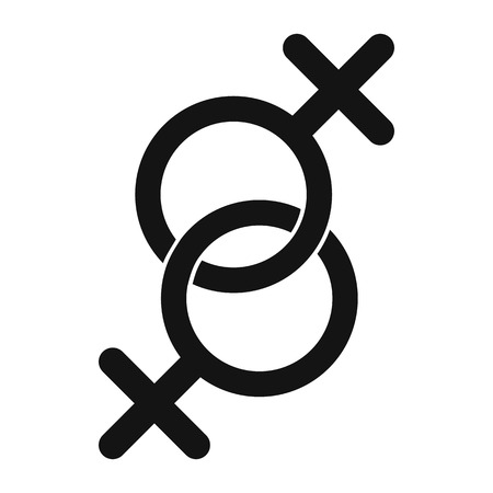 sex symbol: Sign of two women black simple icon isolated on white background