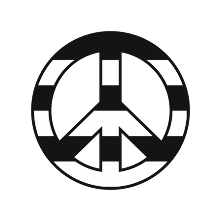spectra: Peace symbol rainbow black simple icon isolated on white background