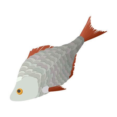 dry: Dry fish cartoon icon on a white background