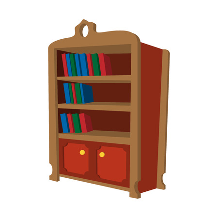 interior shelving: Wooden bookcase cartoon icon on a white background Illustration