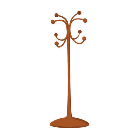 Wooden coat rack cartoon icon on a white background