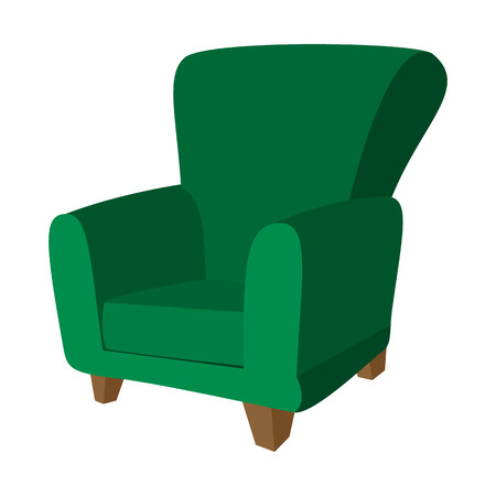 Green armchair cartoon icon on a white background