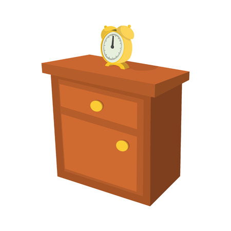 nightstand: Nightstand with a clock cartoon icon on a white background Illustration