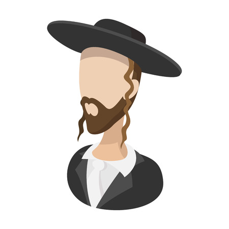 yom kippur: Rabbi cartoon icon on a white background