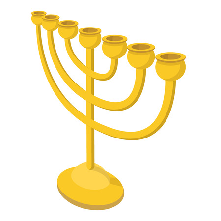 jews: Menorah for Hanukkah cartoon icon on a white background Illustration