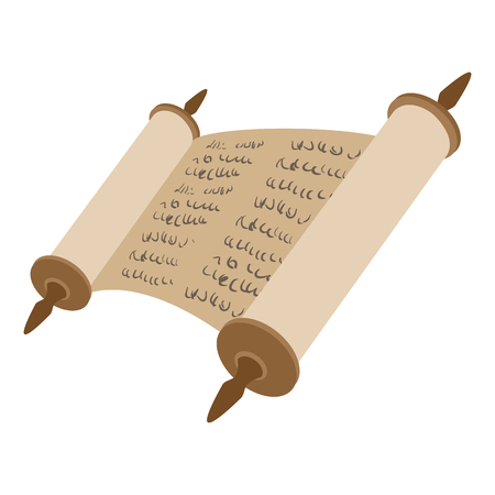 Torah scroll cartoon icon on a white background Çizim