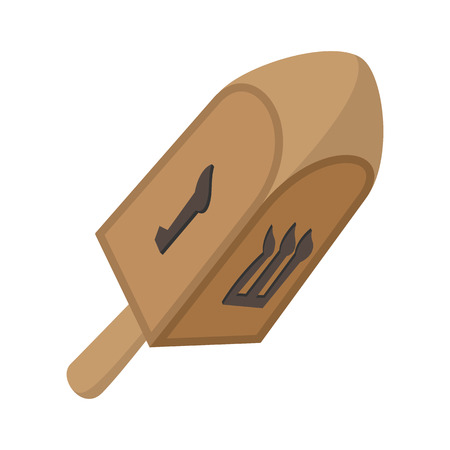 hanukka: A wooden dreidel cartoon icon on a white background