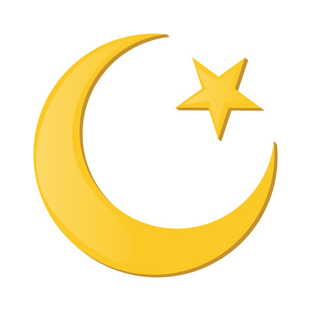 Crescent and star cartoon icon on a white background. Islam symbol