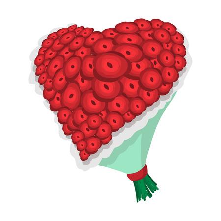 mazzo di fiori: Rosa icona del fumetto fiori cuore su uno sfondo bianco Vettoriali