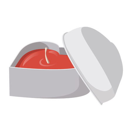heart shaped box: White heart shaped box with a red candle inside cartoon icon on a white background