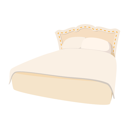 double bed: Luxury double bed cartoon icon. With white blanket. Big bed with pillows and blanket Illustration