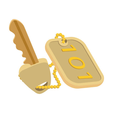 secret number: Hotel key with a room number cartoon icon. Gold hotel symbol isolated on a white