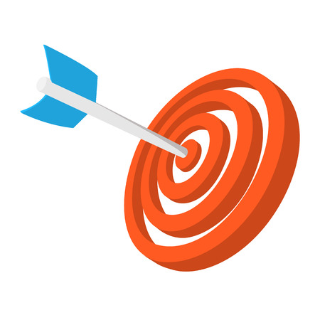 dart on target: Target with dart cartoon icon. Orange and blue symbol isolated on a white background