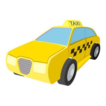 택시 자동차 만화 아이콘입니다. 호텔 기호는 흰색에 고립