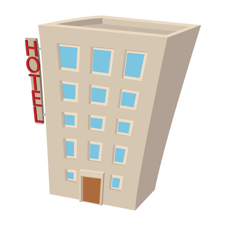 overhang: Hotel building cartoon icon. Hotel symbol isolated on a white background