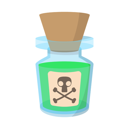 caution chemistry: Glass bottle with poison cartoon icon on a white background