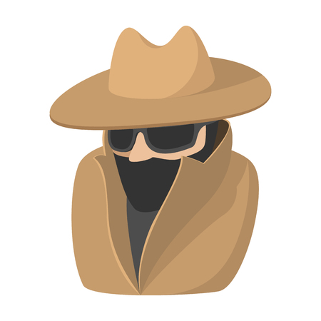 Man in black sunglasses and brown hat cartoon icon on a white background