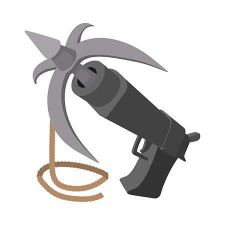 grappling: Gun with grappling hook cartoon icon on a white background Illustration