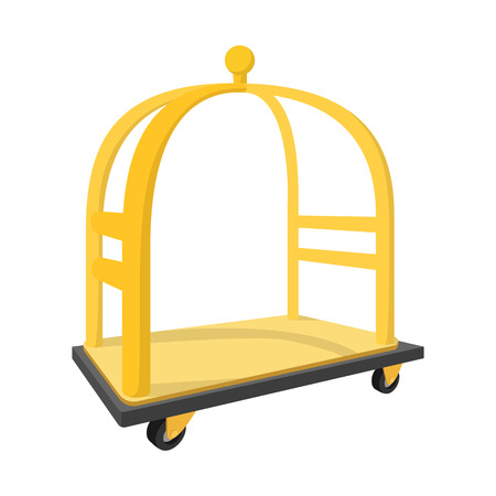 luggage carrier: Luggage trolley cartoon icon. Hotel symbol isolated on a white background
