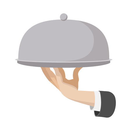 site preparation: Restaurant cloche in hand the waiter. Cartoon icon isolated on a white
