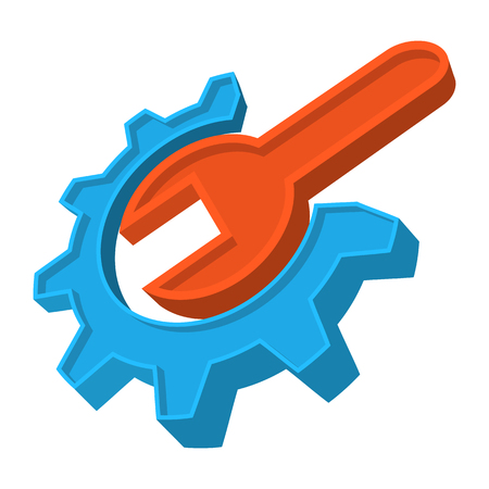 gear icon: Repair cartoon icon. Wrench and gear. Orange and blue symbol isolated on a white
