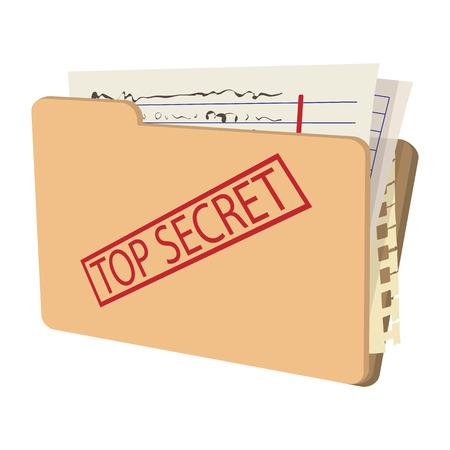 Top secret paquete de iconos de dibujos animados sobre un fondo blanco