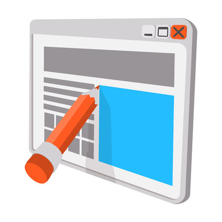 blog icon: Blogging and writing for website cartoon icon. Single symbol isolated on a white
