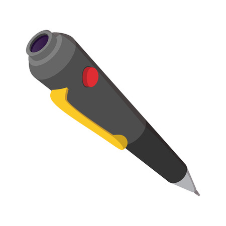 hearing protection: Spy pen cartoon icon on a white background