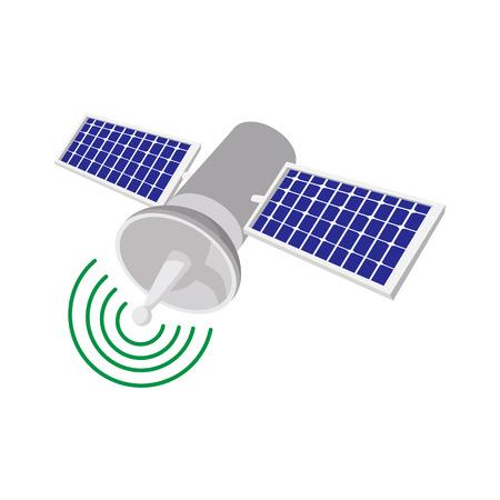 world receiver: Satellite communications cartoon icon on a white background
