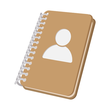spiral book: Closed spiral address book cartoon icon on a white background