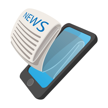 Online reading news using smartphone cartoon icon on a white background