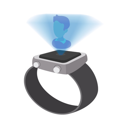 watch: Watch with hologram cartoon icon on a white background