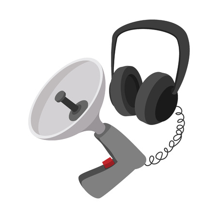 listening device: Spy listening device cartoon icon on a white background
