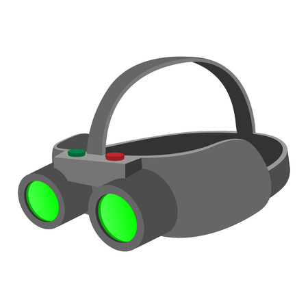 night vision: Night vision device cartoon icon on a white background Illustration