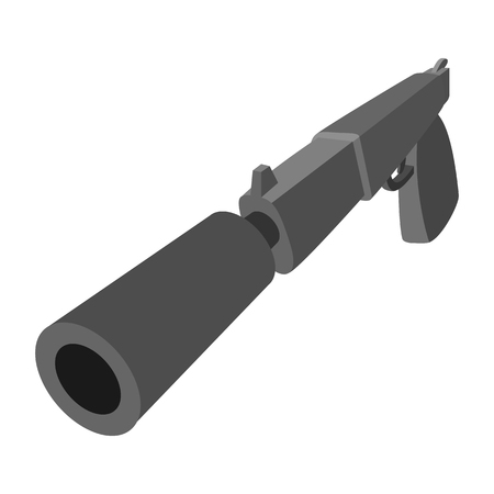 the silencer: Pistol with silencer cartoon icon on a white background