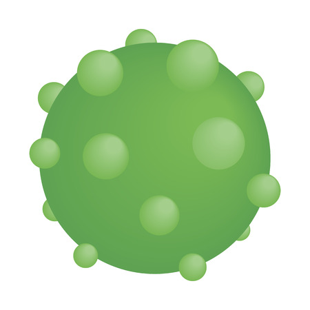 pimples: Green round virus isometric 3d icon. Green sphere with pimples isolated on a white