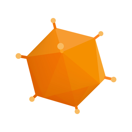 polyhedron: Orange virus isometric 3d icon. Orange polyhedron with thorns on a white background