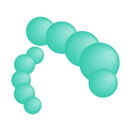 pathogen: Blue virus isometric 3d icon. 2 long blue microorganisms. Consists of bubbles