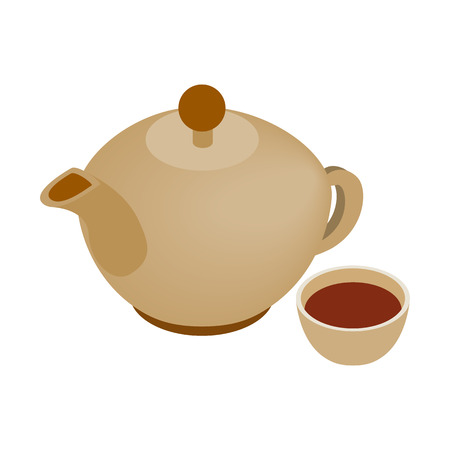earthenware: Teapot and cup isometric 3d icon. Spa symbol isolated on a white background