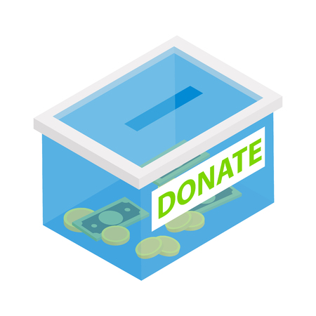 philanthropy: Box with donations isometric 3d icon isolated on a white background Illustration