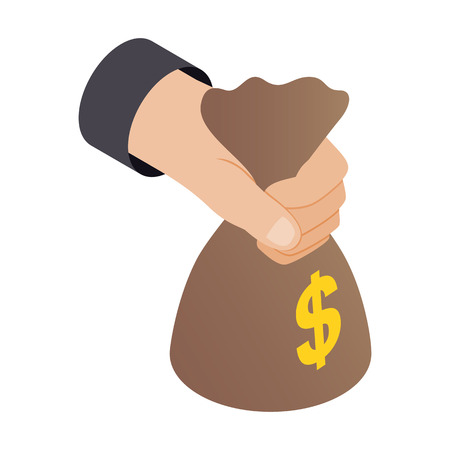 hand holding money bag: Hand holding a bag of money 3d isometric icon isolated on a white background Illustration