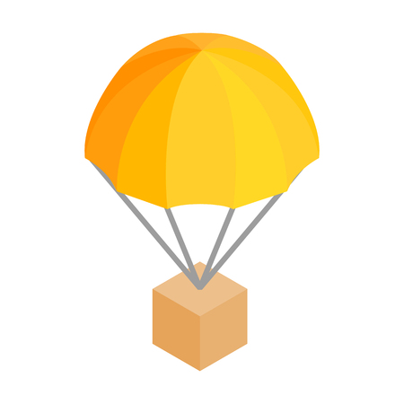 costumer: Box parachute 3d isometric icon isolated on a white background