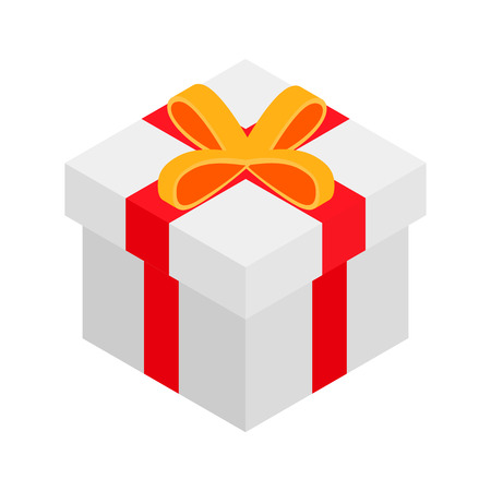 donative: Gift box isometric 3d icon isolated on a white background Illustration