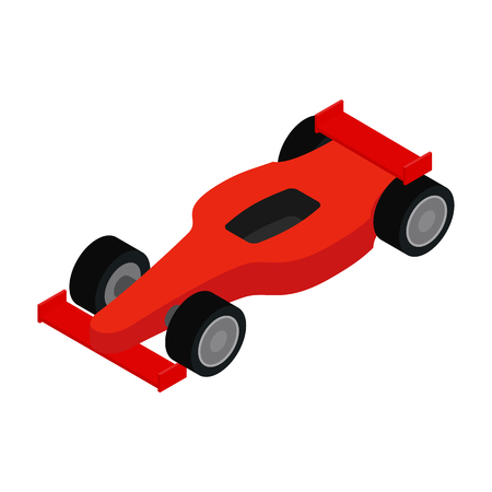 one: Red racing car isometric 3d icon on a white background