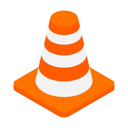 bollard: An orange road hazard cone isometric 3d icon on a white background