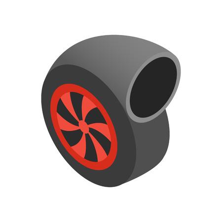 turbocharger: Turbocharger isometric 3d icon on a white background